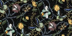 Bugs & Butterflies Black with Dots - Small - Wall Mural & Photo Wallpaper - Photowall