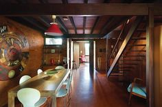 John Railton 1963: Dark Australian hardwood is seen throughout the house.