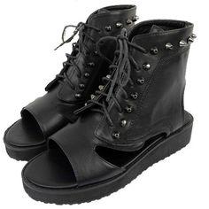 Punk Open Toe Flip Flops Thongs Strappy Sandal Boot Shoes