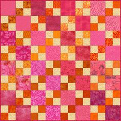 Double Four Patch Quilt Pattern   Stitched in focal fabrics of pink, rose and orange, this Double Four Patch quilt is sure to be an attention-getter. The pattern includes instructions for single quilt blocks and an entire quilt.