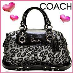 OMG!! I love this !!  COACH ASHLEY OCELOT LEOPARD SATIN SATCHEL BLACK/SILVER HAND BAG PURSE F15520