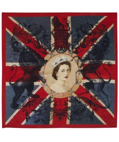 Commemorating 60 years of Elizabeth's reign  ... this is a beautiful, large red and blue Elizabeth Union Jack silk scarf by English Eccentrics. £120 at Liberty.co.uk