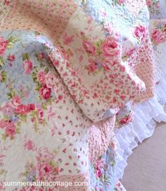 Vintage Chic Cottage Blue Pink Roses patchwork quilt set with trellis stripes and summer roses. Perfect for a HGTV Renovation home Bed & Breakfast or Inn.