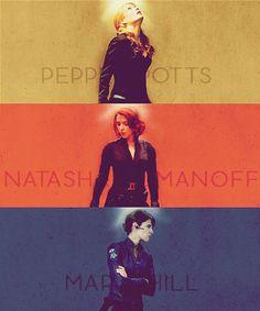 Women of The Avengers: Pepper Potts,  Natasha Romanov, Maria Hill