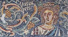 """Autumnus"", IV century, Villa Romana de las Tiendas, province de Badajoz.  The mosaic was made with the technique ""opus tessellatum""."