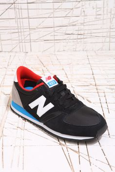 New Balance 420 Classic Black Blue Red Trainers at Urban Outfitters