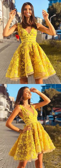Yellow homecoming dresses - Yellow v neck lace short prom dress yellow evening dress Yellow Homecoming Dresses, Yellow Evening Dresses, Hoco Dresses, Mermaid Evening Dresses, Yellow Dress, Cute Dresses, Yellow Lace, Vintage Yellow, Short Evening Dresses