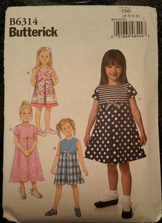 Butterick Pattern B6314 sizes 2-5 Children's/Girls' Pleated-Skirt Dresses #Butterick