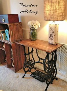 """Vintage Sewing Reclaimed Wood Sewing Machine Table :: Hometalk - This was a fairly easy project, with beautiful results! I was fortunate enough to find this """"Domestic"""", cast iron sewing machine base at a local thrift store t… Singer Table, Singer Sewing Tables, Sewing Desk, Repurposed Furniture, Painted Furniture, Home Furniture, Rustic Furniture, Antique Furniture, Modern Furniture"""