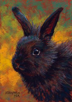 "This reminds me of our Cocoa. These dark fur is gorgeous.   ""Shadow Bubba""  (pastel, 7x5 inches) Rita Kirkman"
