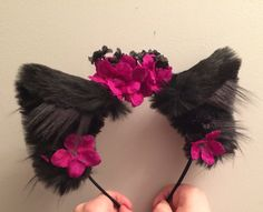 baby-perv: Black realistic cat ears with black velvet and plum and black flowers and like OMG! get some yourself some pawtastic adorable cat apparel! Neko Ears, Cat Ears, Wolf Ears And Tail, Kitten Play Gear, Daddy Kitten, Pet Gear, Kanzashi, Cat Valentine, Kittens Playing