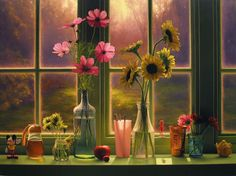 vases on the windowsill