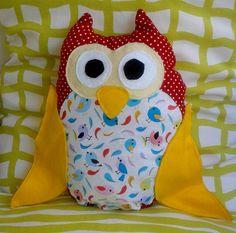 pillow owl size X 30 cm Owls, Cotton Fabric, Pillows, Unique, Handmade, Hand Made, Owl, Cotton Textile, Throw Pillow