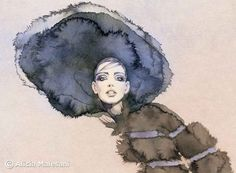 Fur hat  GICLEE fine art print. A4 or 8x115 door aliciamalesaniart