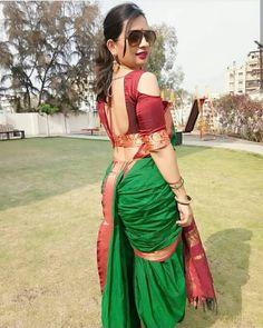 New Design of Madisar Sarees To Display Your Tradition Marathi Saree, Marathi Bride, Madisar Saree, Sari, Lehenga, Saree Backless, Saree Hairstyles, Nauvari Saree, Saree Blouse Neck Designs