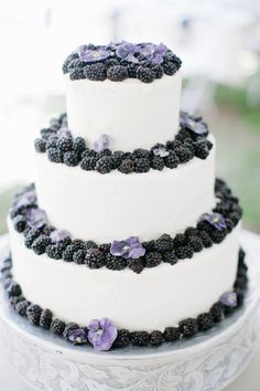 Blackberry wedding cake! Photography by aldersphotography.com  Read more - http://www.stylemepretty.com/2013/08/02/evergreen-wedding-from-alders-photography/