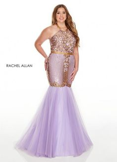 Style 7240 from Rachel Allan Curves is a sequin design plus size mermaid gown that has a high halter neckline and a tulle skirt.
