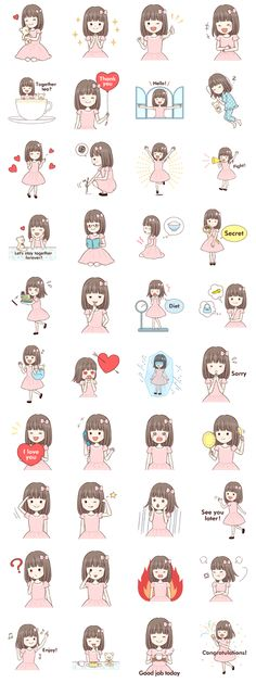 Little girl 1 – LINE stickers Little Girl Cartoon, Little Girl Drawing, Little Girl Illustrations, Dark Art Illustrations, Cute Cartoon Drawings, Kawaii Drawings, Kawaii Stickers, Cute Stickers, Emoji Characters