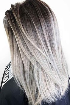 34 sassy looks with ash brown hair hair balayage hair, silve Silver Ombre Hair, Brown Ombre Hair, Ombre Hair Color, Cool Hair Color, Brown And Silver Hair, Ombre Medium Hair, Nice Hair Colors, Brown Hair With Silver Highlights, Blonde Color