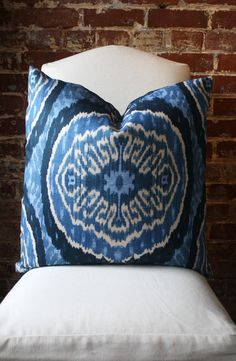 Denim Ikat - Duralee - Pillow Cover - 22 in square - Designer Pillow - Decorative Pillow - Throw Pillow. $52.00, via Etsy.