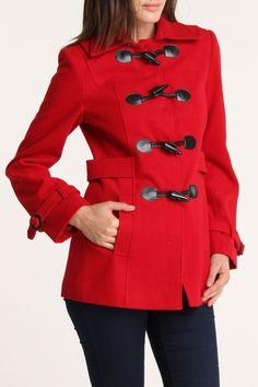 Vertigo Toggle Front Coat In Pomegranate