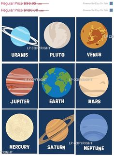"""Sale 35% Off Solar System Planets Wall Decor, Wall Art Prints , Ten Piece for Toddler, Nursery Room Art  4x6"""" prints, Outer. $24.00, via Etsy."""