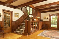 Foyer from a 1906 home features oak woodwork, ceiling beams and built-ins -- Photo by Karen Melvin -- read about the home here: http://www.startribune.com/lifestyle/homegarden/220857381.html