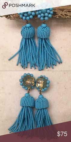 Lisi Lerch Turquoise Tassel Earrings Add spice and style to any outfit with these gorgeous, fun glass beaded earrings with post back; 3.5 inches long ✨ Lisi Lerch Jewelry Earrings