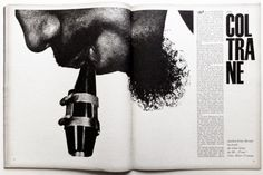 "design-is-fine: "" Willy Fleckhaus, artwork for Twen magazine, editorial about John Coltrane, The seven sides of Mr. Selected pages via PastPrint "" Editorial Design Layouts, Magazine Layout Design, Magazine Layouts, Typography Layout, Typography Letters, Lettering, Typographie Inspiration, Grid, Magazine Spreads"