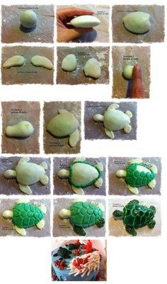 turtle/ could use this pattern for needle felting? - - Keramik - turtle/ could use this pattern for needle felting? Polymer Clay Animals, Fimo Clay, Polymer Clay Projects, Polymer Clay Turtle, Fondant Animals, Fondant Decorations, Clay Figurine, Fondant Tutorial, Sugar Craft