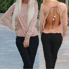 Sexy Skew Neck Long Sleeve Lace-Up Open Back Women's T-Shirt T-Shirts | RoseGal.com Mobile