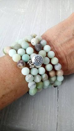 Powerful Healing 108 Mala Beads with Frosted Amazonite, Lotus Flower Charm, Yoga Jewellery, Meditation Jewellery, Prayer Beads, Bohemian