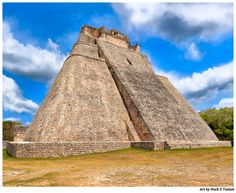Unique Mayan Architecture - Temple Pyramid at Uxmal Art by Mark E Tisdale