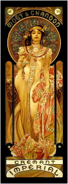 Vintage art nouveau Moët & Chandon poster by Alphonse Mucha. I need sonething like this in my kitchen.