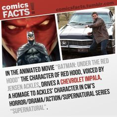 """Also in Supernatural 7x03 Dean (Ackles' character) talks to a clerk who's wearing an """"Under the Red Hood"""" t-shirt."""
