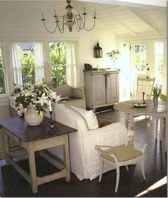 sunny cozy room - I love all white rooms, but then never do that in my home.