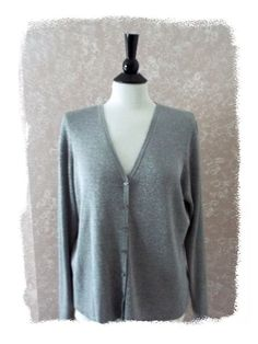 #Evie XL #Silk Cardigan #Sweater L/S Slinky Metallic Silver Gray Womens Extra Large
