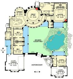 [ Spanish Style House Floor Plans With Home Plan Design Courtyard Colonial Homes ] - Best Free Home Design Idea & Inspiration Pool House Plans, Courtyard House Plans, Dream House Plans, Unique House Plans, Unique Floor Plans, Spanish Style Homes, Spanish House, Spanish Colonial, Four Bedroom House Plans