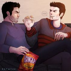 bah tah win — Totally Scary Bugles!Werewolf!Stiles and Mildly Aggravated Actual!Werewolf!Derek