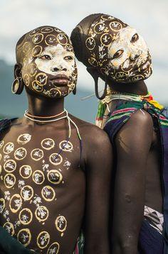 Africa | Suri girls in a village near Kibish, Ethiopia | ©Sergio Carbajo