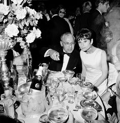April 5, 1965 at the Academy Awards, Audrey Hepburn with George Cukor