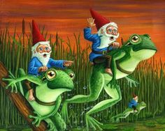 gnomes on frogs - Stephen Kade Illustration