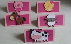 12 Girl Farm Animal Treat Bag Toppers,baby shower, favors, cow, horse, chick, sheep, pig, first birthday, favor tags, goody bags
