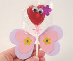 Valentine Silly face butterfly lollipop