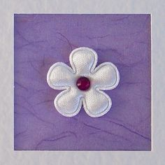 Birthday Card, wife, sister, daughter, girlfriend, for her, mum, friend, white satin flower & gem on lilac, modern, contemporary, cute