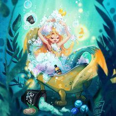 Mermaid bath time