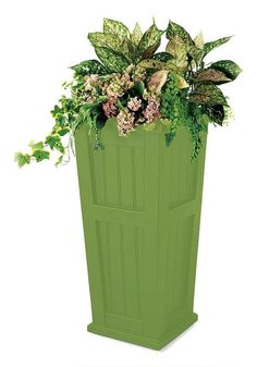 Our Lexington planter raises your plants to a new level. Self watering tall planter frames a door or entry. Raised planter highlights vines and hanging plants. Tall Planter Boxes, Plastic Planter Boxes, Barrel Planter, Tall Planters, Wicker Planter, Wicker Tray, Plastic Pots, Outdoor Planters, Wicker Couch