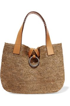 MICHAEL KORS Janey Large Raffia And Leather Tote. #michaelkors #bags #leather #hand bags #tote #