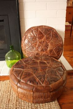Vintage Leather Pouffe or Pouf by TriBecasVintage on Etsy, $29.95