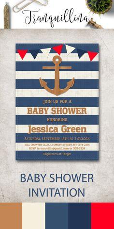 Nautical Baby Shower Invitation Printable, Anchor Nautical Birthday Invitation, Digital File - Blue Stripes, Summer Baby Shower Ideas, Beach Invitation - pinned by pin4etsy.com